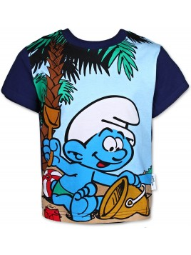 Chlapecké tričko s krátkým rukávem Šmoulové - modrá navy