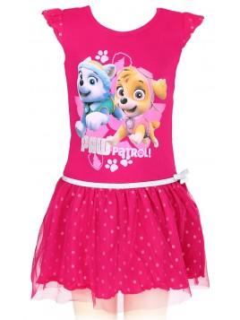 Dievčenské letné šaty Tlapková patrola (Paw patrol) - tm. ružové