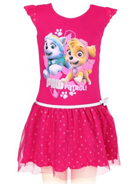 Dívčí letní šaty Tlapková patrola (Paw patrol) - tm. růžové