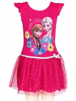 Dívčí letní šaty Ledové království (Frozen) - tm. růžové