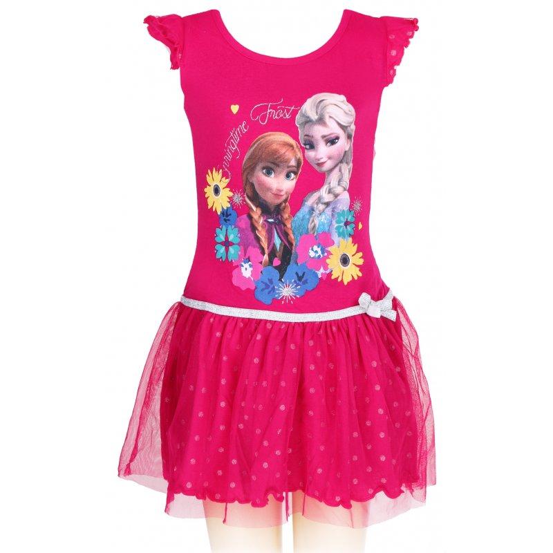 Dívčí letní šaty Ledové království (Frozen) - tm. růžové 8c814b3af3