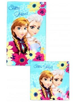 Bavlněný ručník na obličej + ručník na ruce Ledové království (Frozen 2) květy