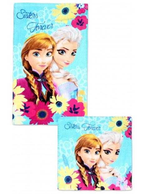 Bavlnený uterák na tvár + uterák na ruky Ľadové kráľovstvo (Frozen 2) kvety