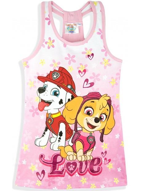 Dievčenské bavlnené letné šaty Tlapková patrola (Paw patrol) - sv. ružové