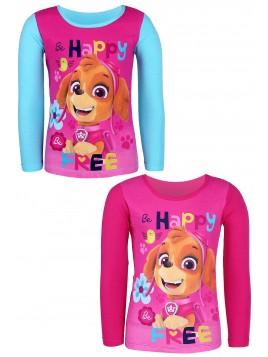 Dievčenské tričko s dlhým rukávom Tlapková patrola (Skye) - ružové
