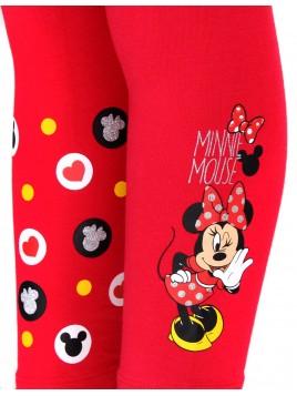 Dievčenské bavlnené legíny Minnie Mouse - červené