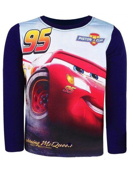 Chlapecké tričko s dlouhým rukávem Auta McQeen (Cars) - tm. modré