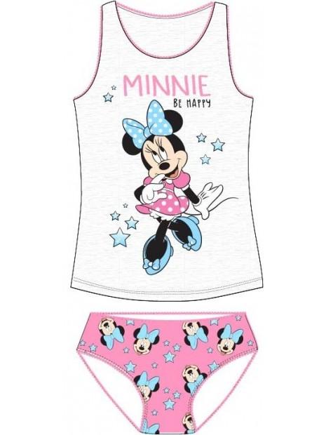 Dievčenská spodná bielizeň - košieľka a nohavičky Minnie Mouse - sv. šedé