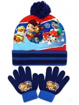 Chlapecká čepice a prstové rukavice Tlapková patrola
