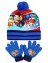Chlapecká čepice a prstové rukavice Tlapková patrola - sv. modrá