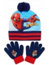 Krásny chlapčenský set čiapka s brmbolcom a prstové rukavice, poteší a zahreje každého obdivovateľa Spidermana.