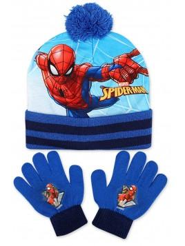 Chlapčenská čiapka a prstové rukavice Spiderman - modrá