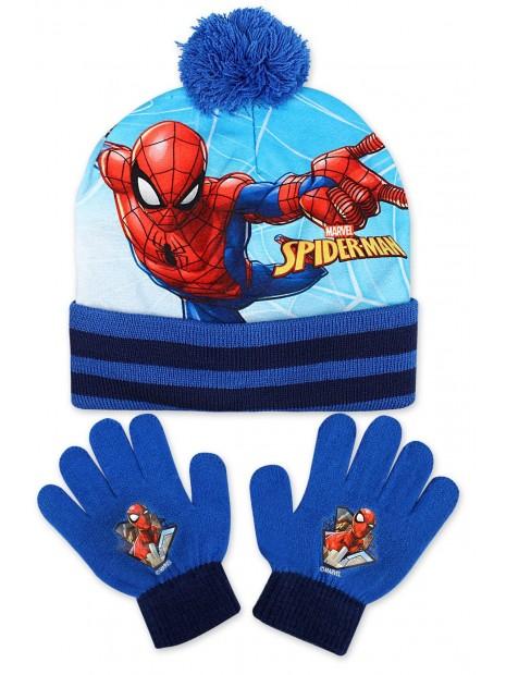 Chlapecká čepice a prstové rukavice Spiderman - modrá