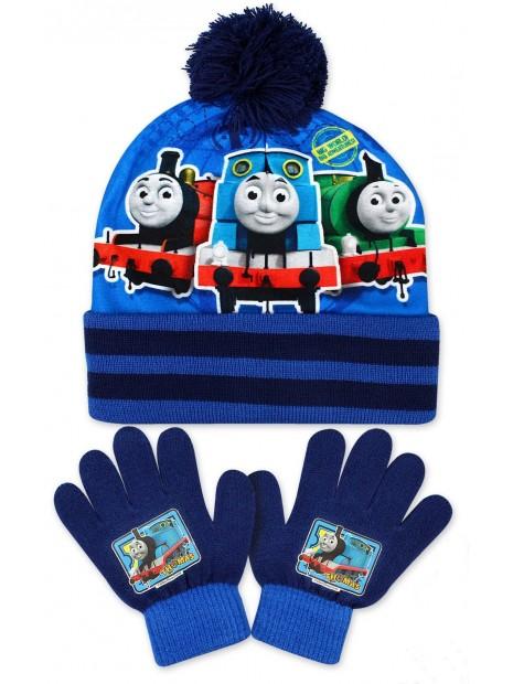 Chlapčenská čiapka a prstové rukavice Mašinka Tomáš - tm. modrá