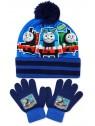 Chlapecká čepice a prstové rukavice Mašinka Tomáš - tm. modrá
