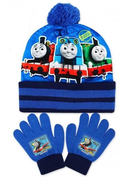 Chlapčenská čiapka a prstové rukavice Mašinka Tomáš - modrá
