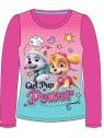 Dívčí tričko s dlouhým rukávem Tlapková patrola - růžové