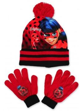 Dívčí čepice a prstové rukavice LadyBug