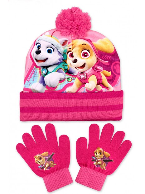 Holčičí čepice a prstové rukavice Tlapková patrola - sv. růžová