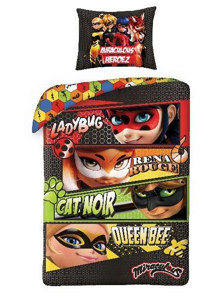 Bavlněné ložní povlečení Kouzelná beruška a Černý kocour -  (Ladybug)