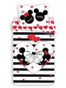 Bavlnené obliečky Mickey a Minnie ❤ (Disney) - pruhy