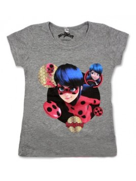 Dívčí tričko s krátkým rukávem Kouzelná beruška (Ladybug) - šedé