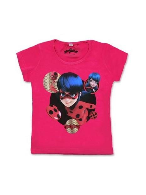 Dívčí tričko s krátkým rukávem Kouzelná beruška (Ladybug) - růžové