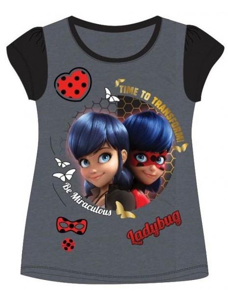 Dívčí tričko s krátkým rukávem Kouzelná beruška (Ladybug) - tmavě šedé
