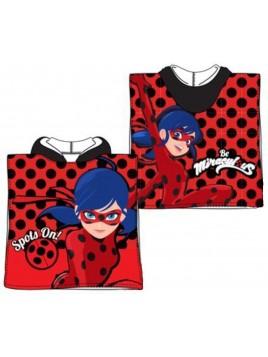 Detské bavlnené pončo osuška s kapucňou Čarovná lienka (Ladybug) - červené