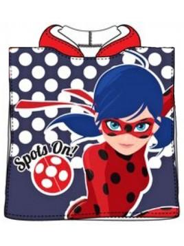 Detské bavlnené pončo osuška s kapucňou Čarovná lienka (Ladybug) - modré