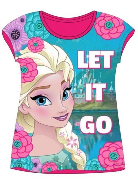 Dívčí bavlněné tričko s krátkým rukávem Ledové království (Frozen) - růžové
