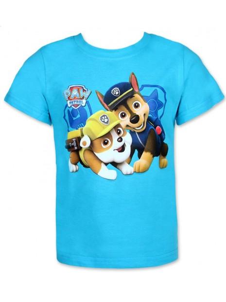 Chlapčenské tričko s krátkym rukávom Labková patrola (Paw Patrol)- tyrkysové