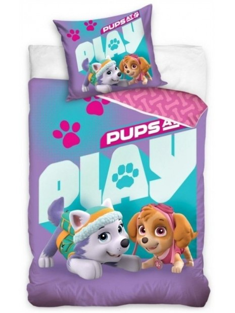 Bavlnené posteľné obliečky Tlapková patrola pre dievčatá (Paw Patrol) - fialové