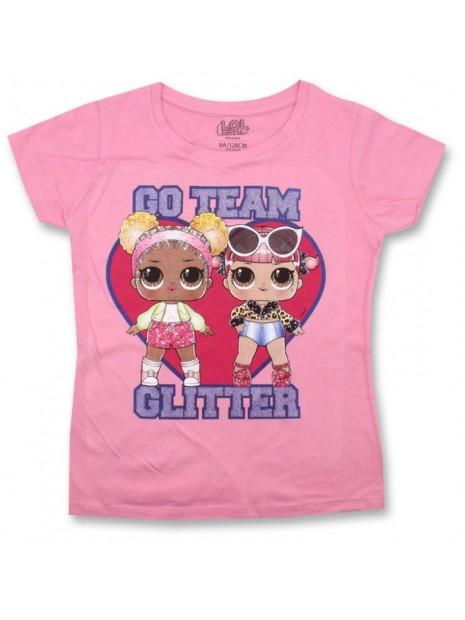 Dievčenské tričko s krátkym rukávom L.O.L. Surprise GLITTER - ružové