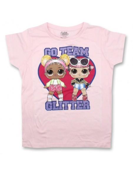 Dívčí tričko s krátkým rukávem L.O.L. Surprise GLITTER - sv. růžové