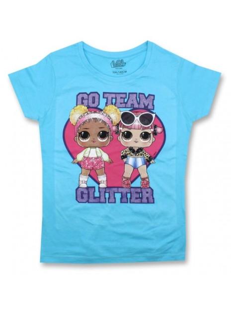 Dievčenské tričko s krátkym rukávom L.O.L. Surprise GLITTER - modré