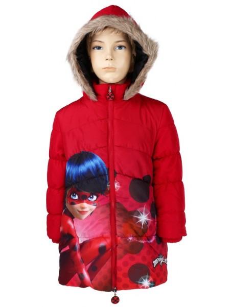 Prešívaný dievčenský zimný kabát Kúzelná lienka - Ladybug