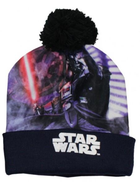 Chlapčenská čiapka s brmbolcom Star Wars - tm. modrá