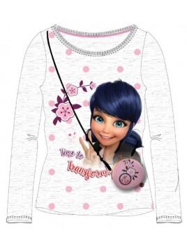 Dívčí tričko s dlouhým rukávem Kouzelná beruška (Ladybug) - sv. šedé