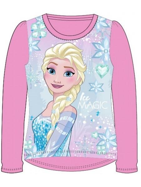 Dívčí tričko s dlouhým rukávem Ledové království (Frozen) - sv. růžové