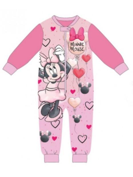 Dievčenské zimné pyžamo overal Minnie Mouse - tm. ružové