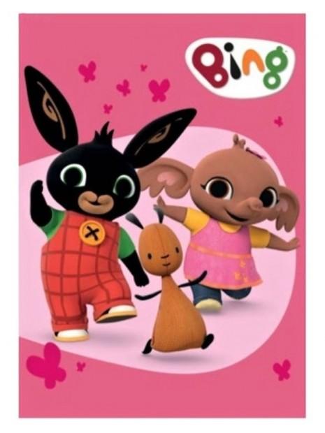 Dětská fleecová deka zajíček Bing, Flop a Sula - růžová