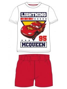 Letné chlapčenské pyžamo s krátkym rukávom Autá McQueen (Cars) - biele