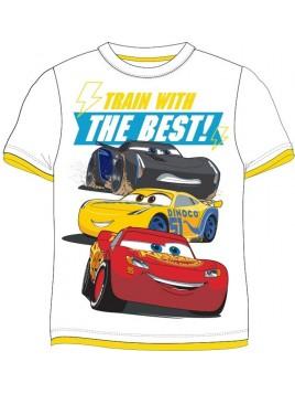 Chlapčenské tričko s krátkym rukávom Autá McQueen (Cars) - biele