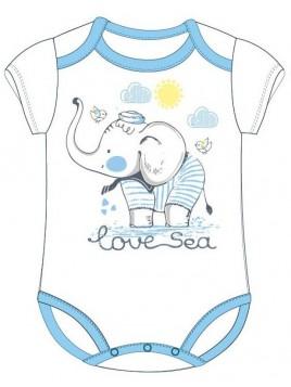 Bavlněné kojenecké body s krátkým rukávem - slon