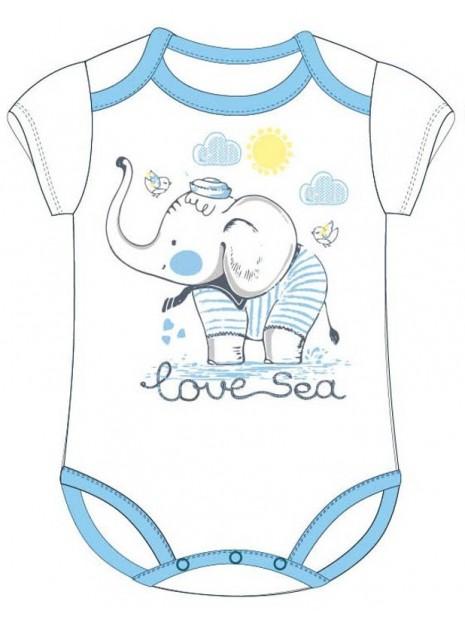Bavlnené dojčenské body s krátkym rukávom - slon