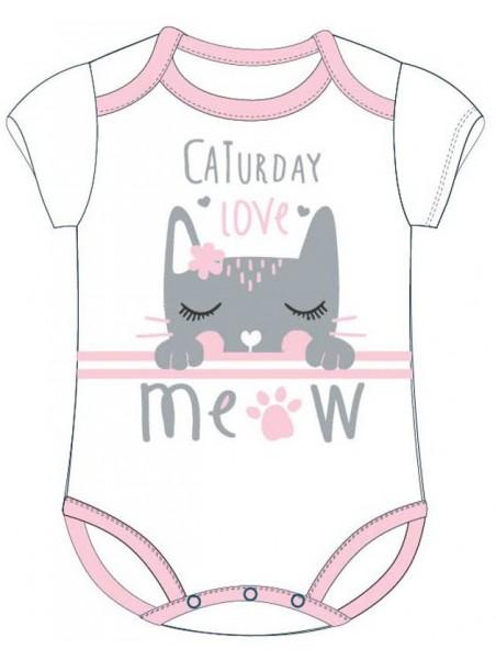 Bavlněné kojenecké body s krátkým rukávem - kočka