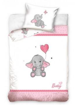 Bavlnené obliečky do detskej postieľky Sloníča - pre dievčatá