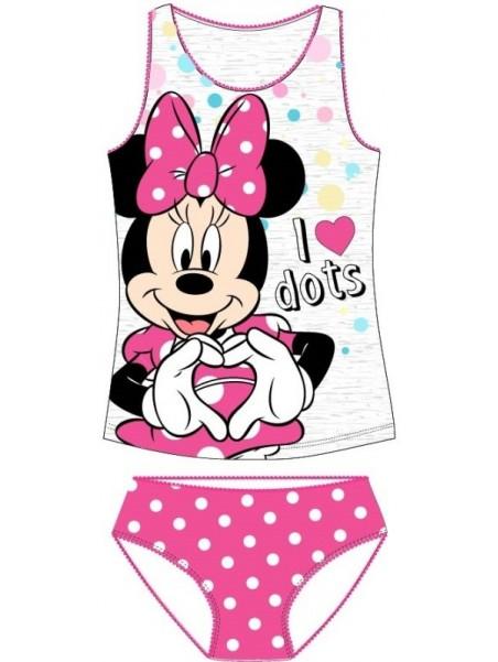 Dívčí spodní prádlo - košilka a kalhotky Minnie Mouse -  šedé