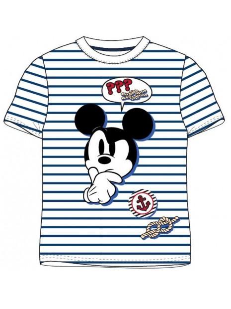 Chlapčenské námornícke tričko s krátkym rukávom Mickey Mouse - biele